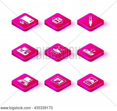 Set Laptop, Postal Stamp, Monitor With Keyboard, Ufo Flying Spaceship, Card Game, Gamepad, Audio Jac
