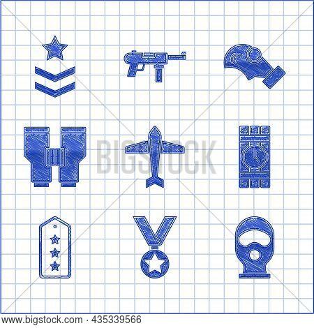 Set Jet Fighter, Military Reward Medal, Balaclava, Dynamite And Timer Clock, Rank, Binoculars, Gas M