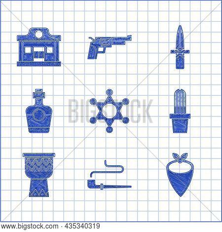 Set Hexagram Sheriff, Smoking Pipe, Cowboy Bandana, Cactus Peyote Pot, Drum, Tequila Bottle, Dagger
