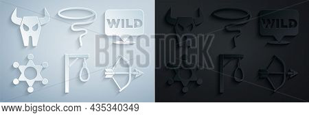 Set Gallows, Pointer To Wild West, Hexagram Sheriff, Bow And Arrow Quiver, Lasso And Buffalo Skull I