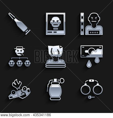 Set Kidnaping, Hand Grenade, Handcuffs, Bloody Money, Burning Car, Mafia, Suspect Criminal And Bulle