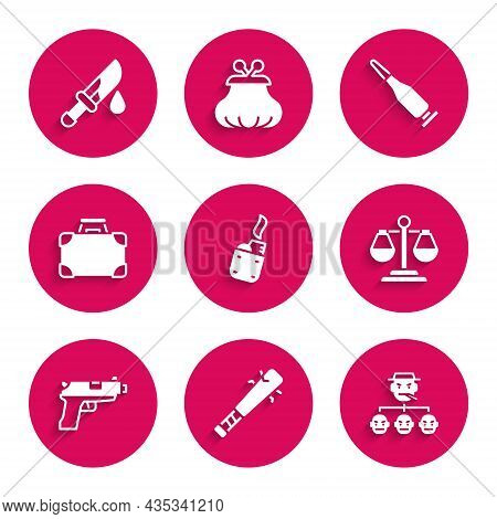 Set Lighter, Baseball Bat With Nails, Mafia, Scales Of Justice, Pistol Or Gun, Briefcase And Money,