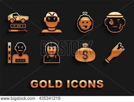 Set Thief Mask, Bandit, Broken Bottle Weapon, Money Bag, Suspect Criminal, Murder, Car Theft And Ico