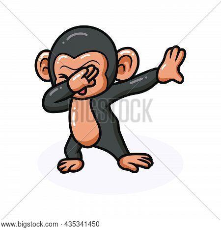 Vector Illustration Of Cute Baby Chimpanzee Cartoon Dabbing
