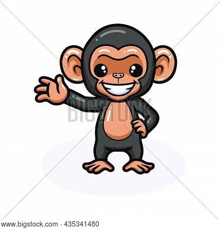 Vector Illustration Of Cute Baby Chimpanzee Cartoon Waving Hand