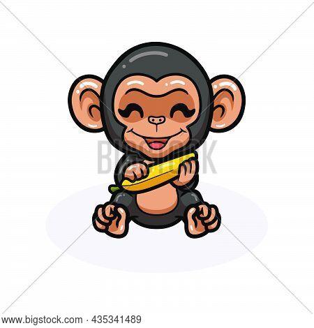 Cute Baby Chimpanzee Cartoon Holding A Banana