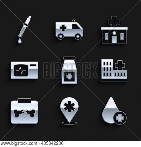Set Medicine Bottle And Pills, Location Hospital, Donate Drop Blood, Hospital Building, X-ray Shots
