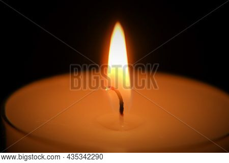 Candle On Black Background.candle Flame.candle Background. Burning Candle In The Dark. Candle Flame.
