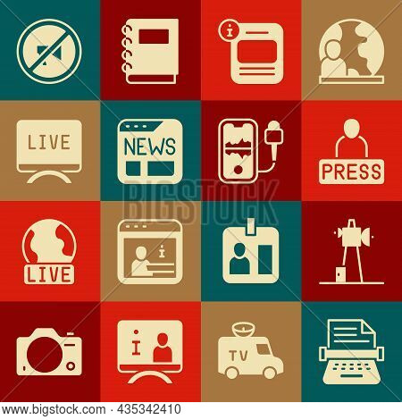 Set Retro Typewriter, Antenna, Journalist News, Information, News, Live Report, Censored Stamp And M