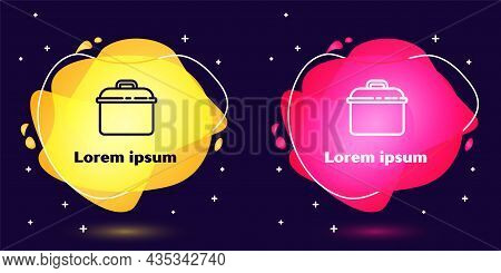 Set Line Cooking Pot Icon Isolated On Blue Background. Boil Or Stew Food Symbol. Abstract Banner Wit