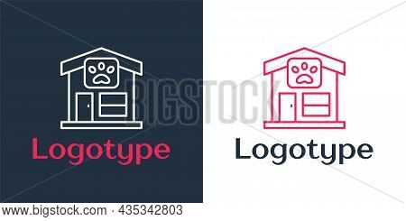 Logotype Line Pet Grooming Icon Isolated On White Background. Pet Hair Salon. Barber Shop For Dogs A