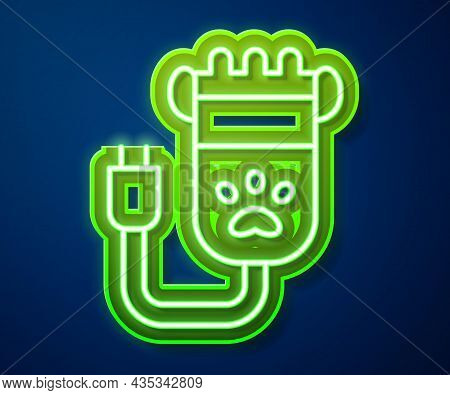 Glowing Neon Line Hair Clipper Accessories For Pet Grooming Icon Isolated On Blue Background. Vector