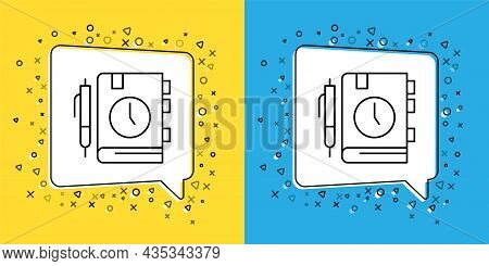 Set Line Daily Paper Notepad Icon Isolated On Yellow And Blue Background. Vector