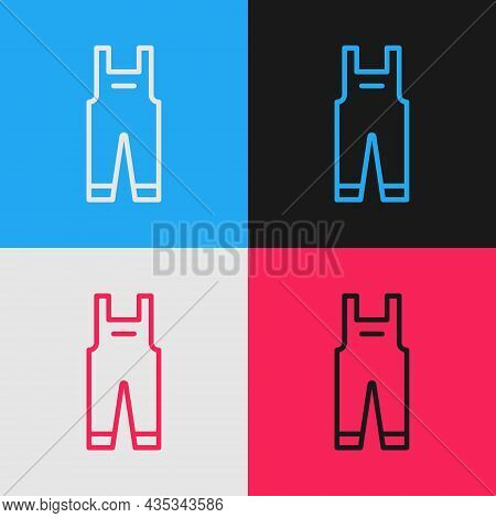Pop Art Line Work Overalls Icon Isolated On Color Background. Vector