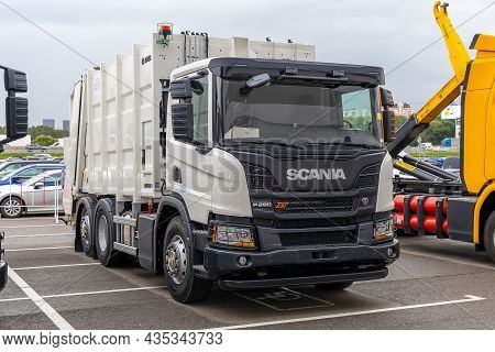Scania P280 Xt Garbage Truck At Wastetech 2021. Moscow, Russia - September 7-9, 2021