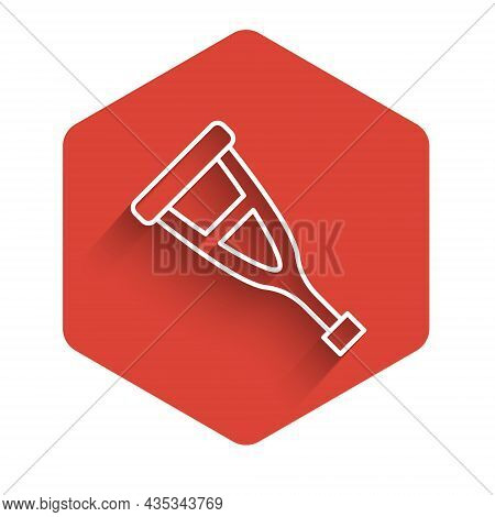 White Line Crutch Or Crutches Icon Isolated With Long Shadow. Equipment For Rehabilitation Of People