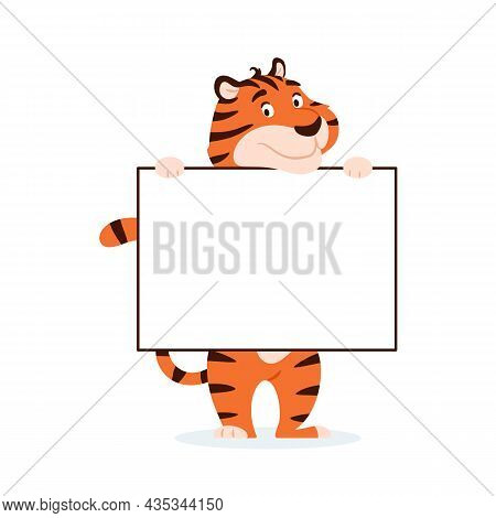 Cute Cartoon Tiger With Banner, Blank Text Space Isolated On White Background. Adorable Happy Holida