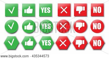 Collection Of Yes And No Icon. Colored Geometric Shapes. Social Media. Flat Button. Vector Illustrat