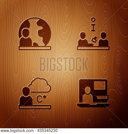 Set World News, Weather Forecast And Interview On Wooden Background. Vector