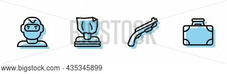 Set Line Police Shotgun, Thief Mask, Kidnaping And Briefcase And Money Icon. Vector