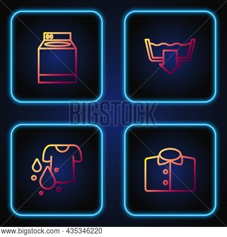 Set Line T-shirt, Dirty T-shirt, Washer And Washing Modes. Gradient Color Icons. Vector