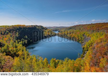 Superior Hiking Trail In Minnesota During Autumn And Fall Season, Overlooking Bean And Bear Lakes