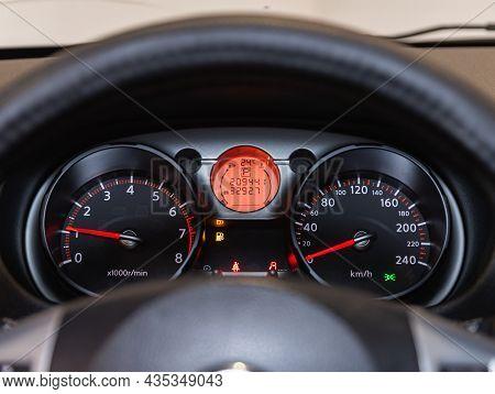 Novosibirsk, Russia - July 16, 2021: Nissan Qashqai, Sign And Symbol On Car Dashboard. Car Speedomet