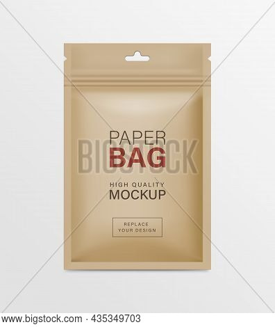 Paper Pouch Zipper Bag Packaging Mockups Brown Color