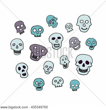 Doodle Halloween Sculls Set. Color Skeleton Isolated On White Background. Hand-drawn Cute Scary Cran