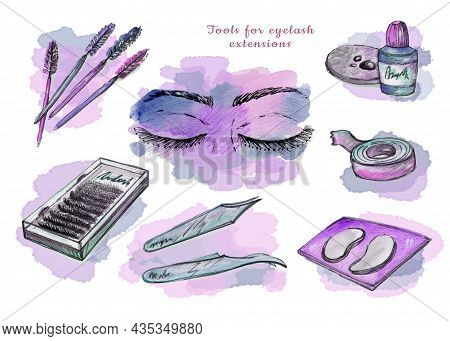 Set Watercolor Eyelash Extension Tool Element In The Style Of Doodle Style Beauty Theme On A White B
