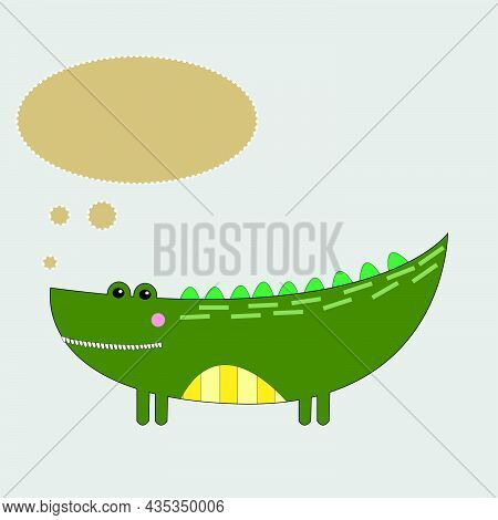 Cute Graphic Cartoon Crocodile With Message  On Beige Isolated Background. Greeting Card Illustratio