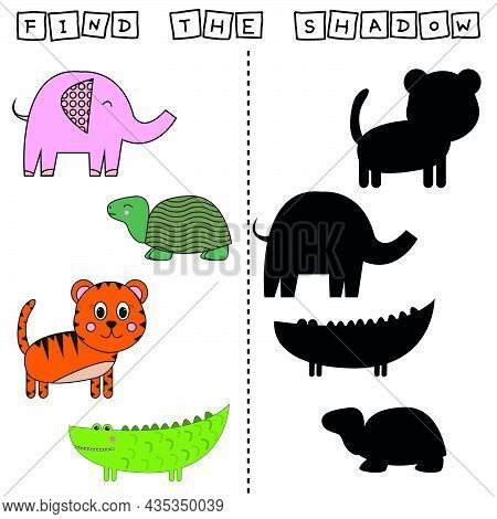 Find A Pair Or Shadow  Game With Funny Tiger, Elephant, Turtle, Crocodile.  Worksheet For Preschool