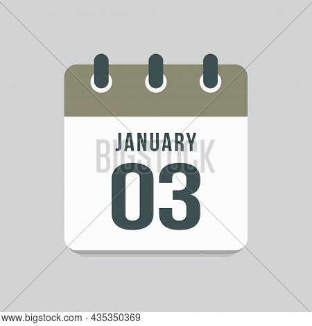 Icon Day Date 3 January, Template Calendar Page