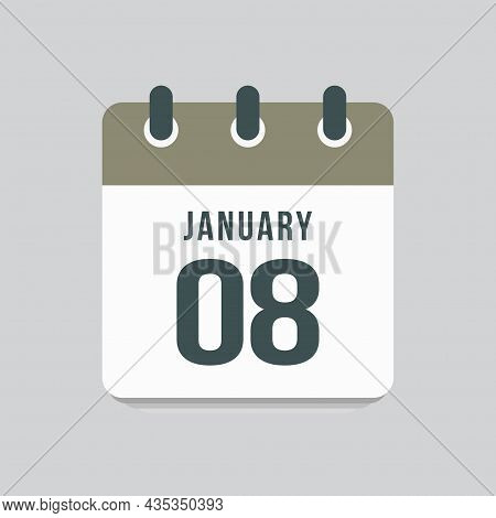 Icon Day Date 8 January, Template Calendar Page