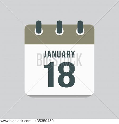 Icon Day Date 18 January, Template Calendar Page