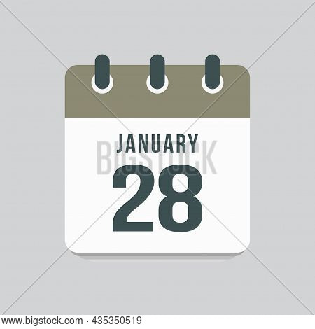 Icon Day Date 28 January, Template Calendar Page