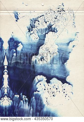 A Sheet Of Old Vintage Paper Stained With Blot Of Blue Watercolor Paint. Fine Grunge Artistic Backgr