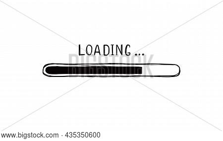 Loading Bar Doodle Element. Hand Drawn Line Sketch Style. Slow Download Speed, Progress Status, Inte