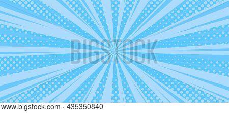 Halftone Comic Background. Blue Wallpaper Template With Superhero Design. Vector Illustration In Pop