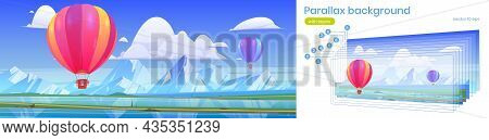 Parallax Game Background Hot Air Balloons Flying Above Ocean Or Sea And Mountain Peaks In Blue Cloud
