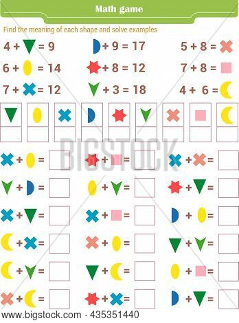 Math Game For Children. Find The Meaning Of Each Shape, And Solve Examples . Vector Illustration
