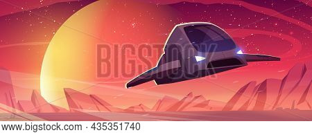 Spaceship Fly Above Alien Planet Surface. Vector Cartoon Illustration Of Futuristic Landscape Of Pla