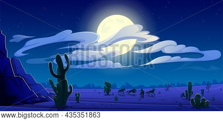 Arizona Night Desert Landscape, Natural Wild West Background With Coyote Pack Silhouettes Run On Thr