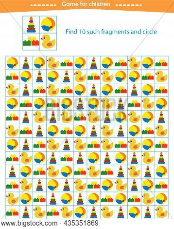 A Game For Children. Find The Toy Fragments Shown In The Sample. Development Of Attention, Thinking.