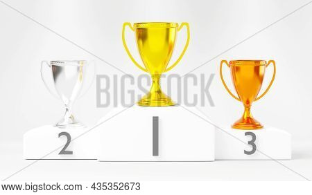 White Winner Podium, Gold, Silver And Bronze Trophy Cup On Prize Podium For The Champions, Pedestal