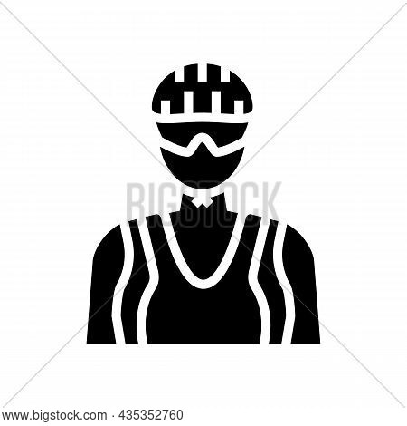 Female Cyclist Glyph Icon Vector. Female Cyclist Sign. Isolated Contour Symbol Black Illustration