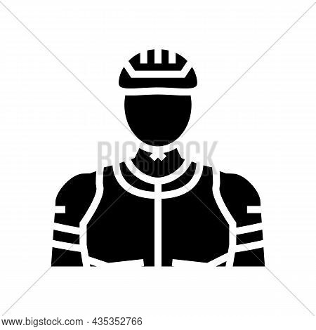 Male Cyclist Glyph Icon Vector. Male Cyclist Sign. Isolated Contour Symbol Black Illustration