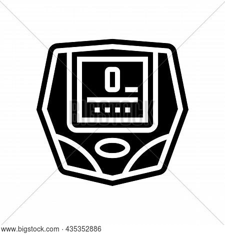 Cyclometer Bike Device Glyph Icon Vector. Cyclometer Bike Device Sign. Isolated Contour Symbol Black