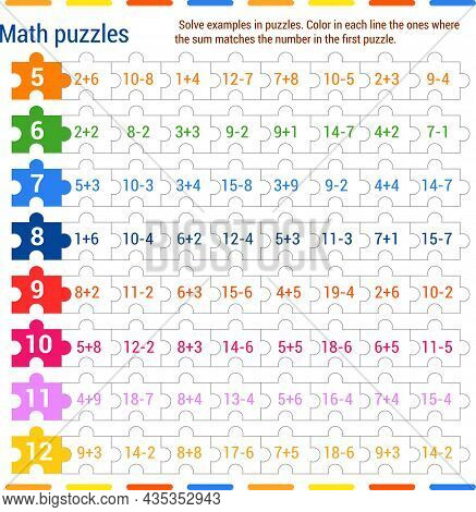 Math Puzzle Game. Solve The Examples In The Jigsaw Puzzles. Color In Each Row The Ones In Which The