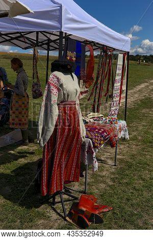 Kyiv, Ukraine - September 5, 2021: Open Air Traditional Crafts Fair. National Ukrainian Clothing. Th